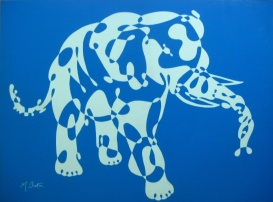 Elephant, single continuous line drawing, large screen print by Northern Screenprints Ltd. 1969. Mick Burton, continuous line artist.