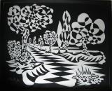 Skelldale negative. Single continuous line drawing. Mick Burton, continuous line artist, 1970.