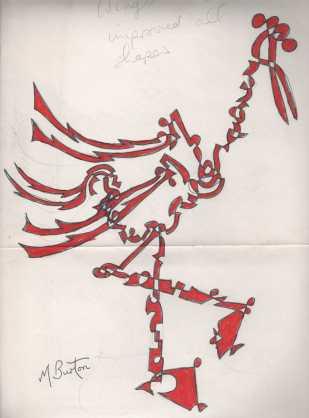 Stork, or Flamingo, single continuous line with alternate shading. Mick Burton, 1970.