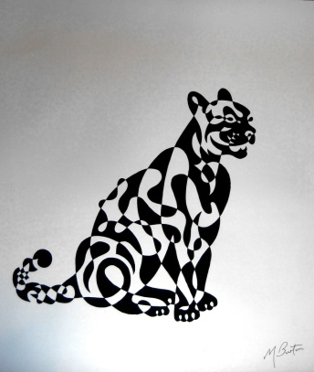 Panther single continuous line drawing with alternate shading. Mick Burton, 1970.