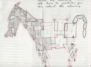 Sancho Panza's donkey. Overlapping shapes. Mick Burton, 1971.