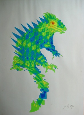 Iguana single continuous line drawing with colour sequence. Mick Burton, 1971.