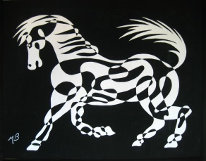 White horse, single continuous line drawing, negative effect used for Coffee Table production design. Mick Burton, continuous line artist, 1973.